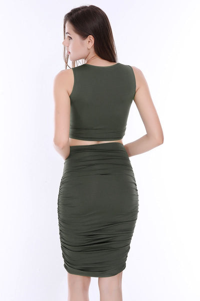 Sexy Pleated Sleeveless 2-piece Dress Set