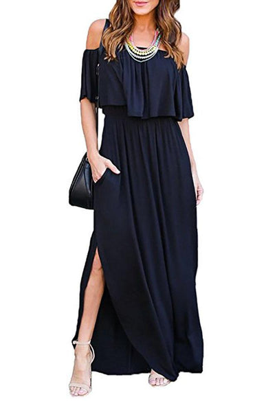 Sexy Off Shoulder Falbala Maxi Dress