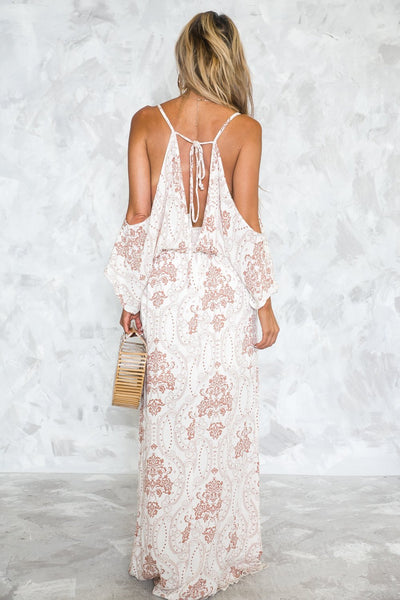 Vogue Printing Off-Shoulder Maxi Dress