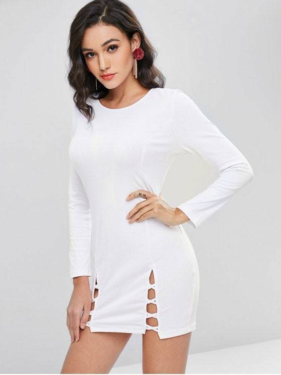 Crisscross Split Hem Long Sleeve Bodycon Dress