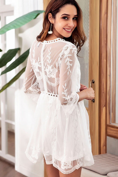 Chic Embroidery See-Through Lace Dress