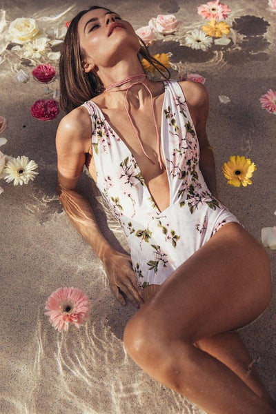 Stylish Deep-V Floral Swimwear