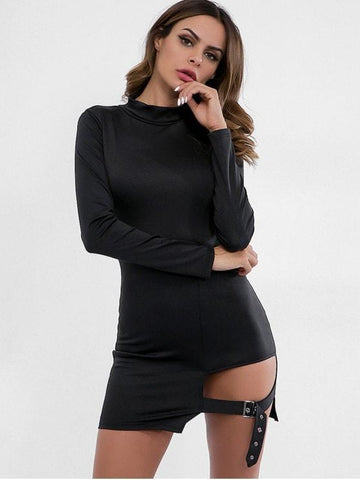 Belt Embellished Cut Out Bodycon Dress