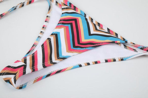 Colored Stripes Lace-Up Bikini