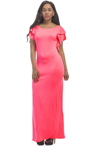 Plain Slim Ruffles Maxi Dress