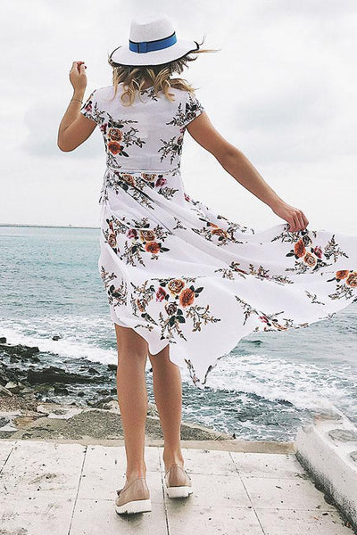 Stylish Printing V-Neck Maxi Dress