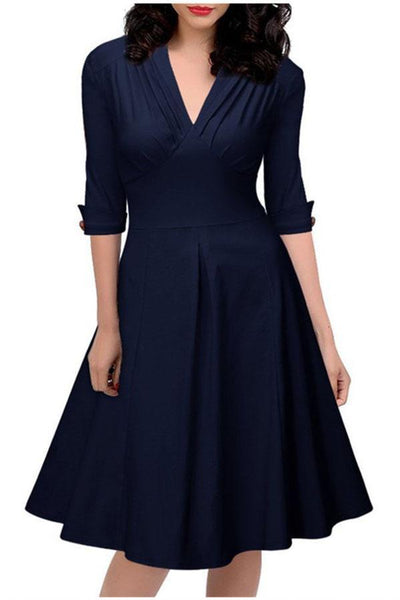 Elegant Deep-V High Waist Day Dress