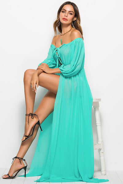 Solid Color Slit Tie-Front Maxi Dress