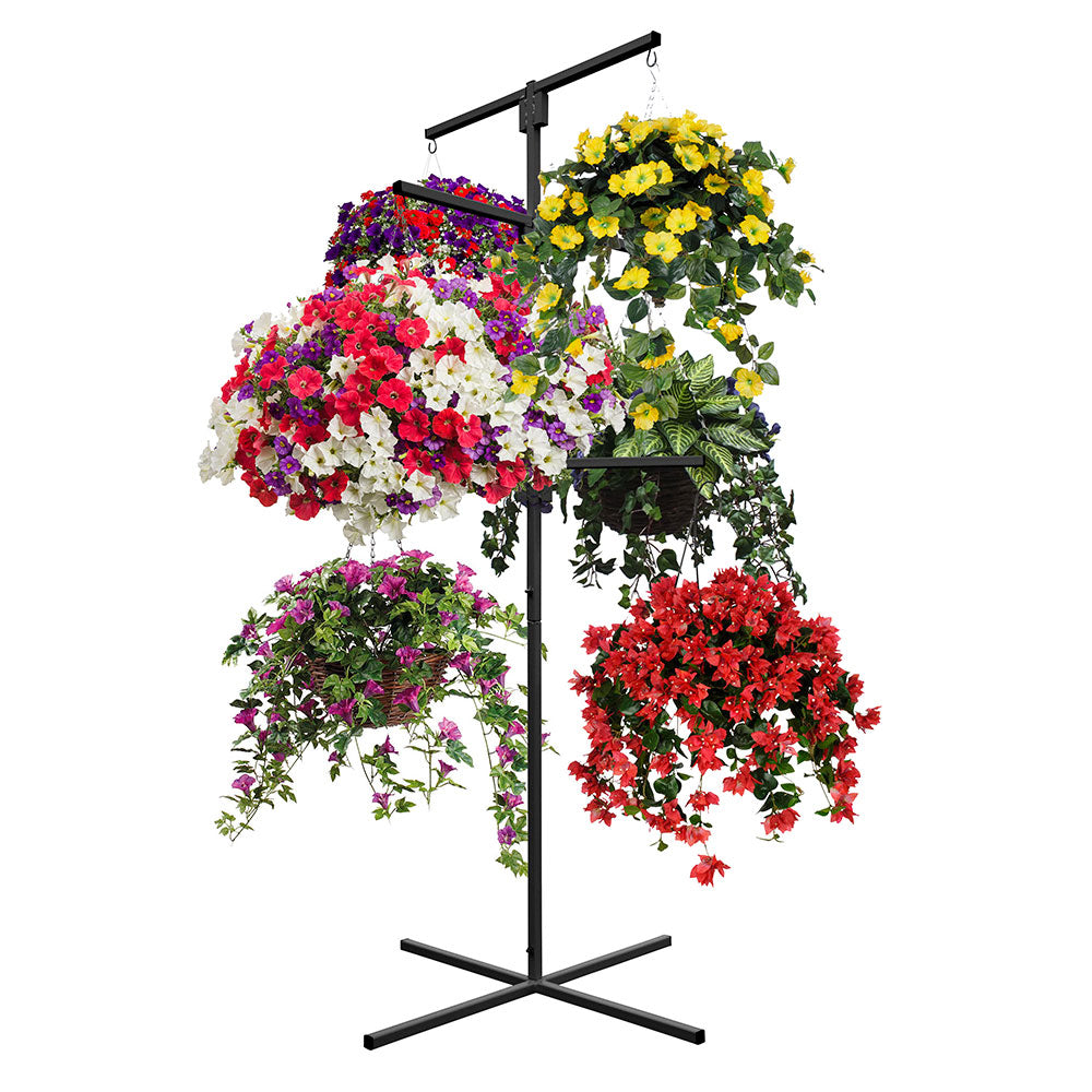 yeloStand® Flower Hanging Basket Display Stand 6 Arm Black