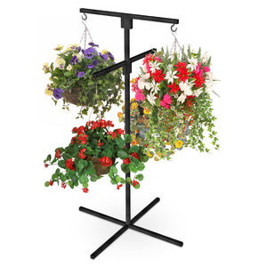 yeloStand® Flower Hanging Basket Display Stand 4 Arm Black