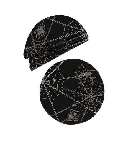 XD18801 Halloween Spider Web 16'' Placemats, Set of 4