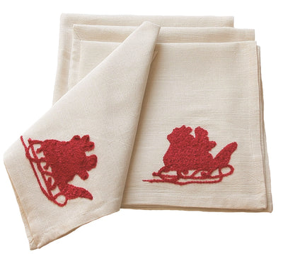ML10107D Santa's Sleigh&Reindeer Napkins,20''x20'' Set of 4