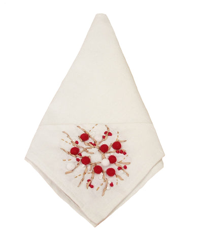 ML10103A Holiday Berry Wreath Napkin, 20''x20''