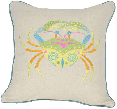 "ML11303 Coastal Embroidery Pillow, 18""x18"""