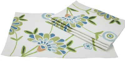 "ML12019 Crewel embroidered Flora Placemats,14""x20"", Set of 4"