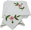 "ML12019 Crewel embroidered Flora Napkins, 21""x21"", Set of 4"