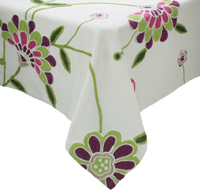 "ML12019 Crewel embroidered Flora Tablecloth 60""x60"""