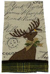 ML14898 Reindeer With Applique Suede Tea Towel, 16''x22''