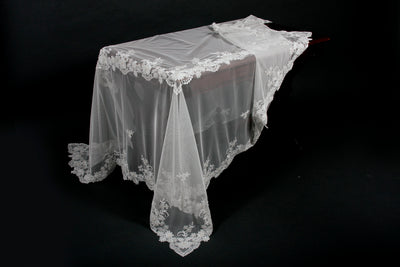 "ML16135 Flower Lace Beaded Tablecloth, 80""X80"""