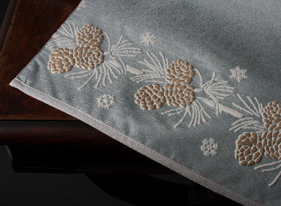 "ML17117 Winter Pine Cone Table Runner, 13.5""x48"""
