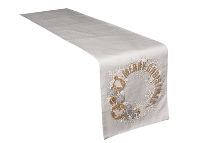 "ML17119 Ornament Wreath Table Runner, 13.5""x72"""