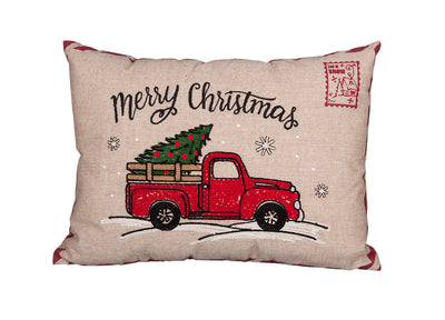 ML17131-Christmas Truck Pillow 13''x18''