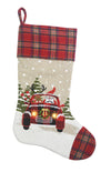 ML18922 Snowy Car By Santa Light Up Stocking 20''