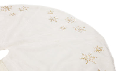 ML18925 Snowflake Sequin Soft Plush Furry Tree Skirt Grey 56''