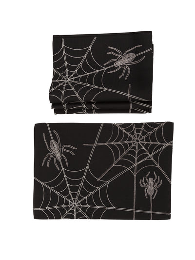 XD18801 Halloween Spider Web 14''x20'' Placemats, Set of 4