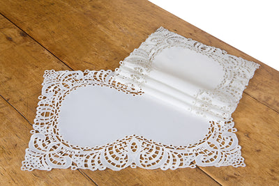 "XD10181 Dainty Lace Placemats, 12""x18"", Set of 4"