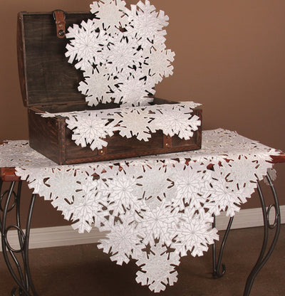 "XD10816 Shimmer Snowflake Table Topper, 34""x34"""