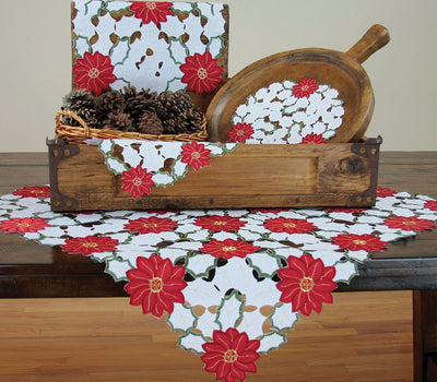 XD13024 Holiday Poinsettia Table Topper,34''x34''