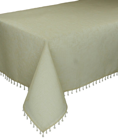 "XD13187 Beaded Sheer Tablecloth, 90""x90"""