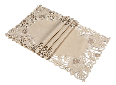 "XD14039 Scrolling Rose Placemats, 12""x18"", Set of 4"