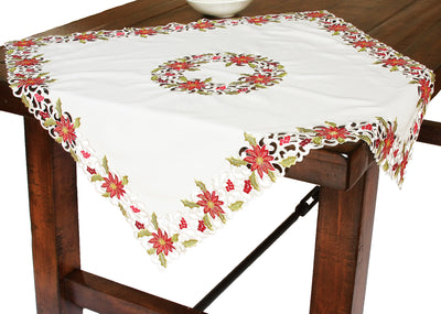 "XD14782 Poinsettia Lace Table Topper, 34""x34"""