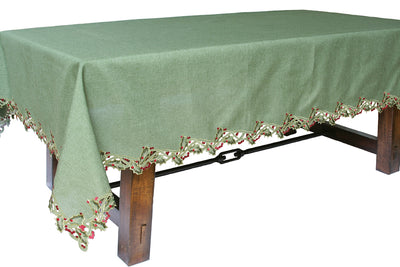 XD14791 Holly Embroidered Tablecloth