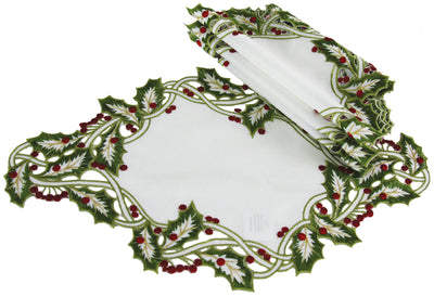 "XD14791 Holly Embroidered Placemats, 12""x18"", Set of 4"