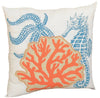 "XD15136 Applique Sea life Coastal Pillow 18""x18"""
