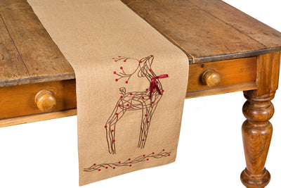 XD15814 Rustic Reindeer Jute Table Runner