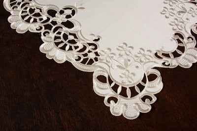 "XD17106 Scalloped Lace Placemats,13""x19"", Set of 4"