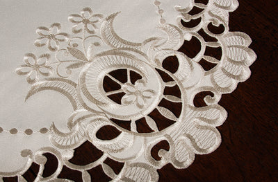 "XD17106 Scalloped Lace Placemats, 15"" Rnd, Set of 4"