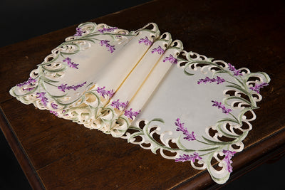 "XD17107 Lavender Lace Placemats, 13""x19"", Set of 4"