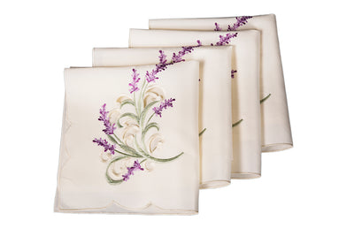 "XD17107 Lavender Lace Napkins,20""x20"", Set of 4"