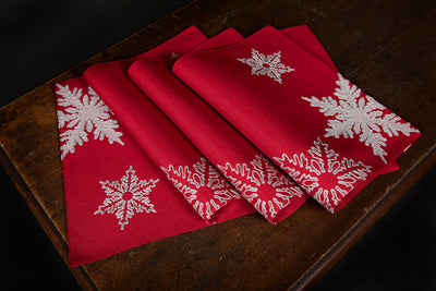 "XD17141 Glisten Snowflake Placemats,14""x20"", Set of 4"