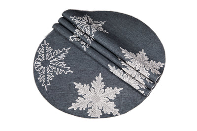 "XD17141 Glisten Snowflake Placemats, 16"", Set of 4"