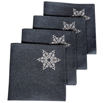 "XD17141 Glisten Snowflake Napkins, 20""x20"", Set of 4"