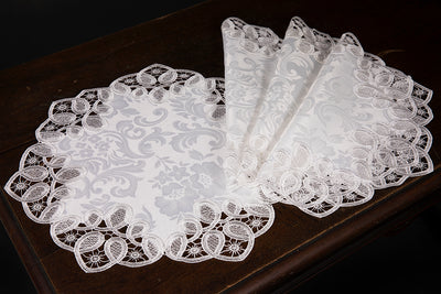 "XD17190 Antebella Lace Placemats, 15""Rnd, Set of 4"