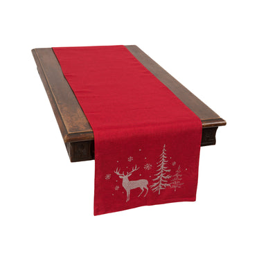XD18905 Deer In Snowing Forest Table Runner