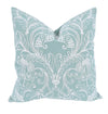 XD19202-Jacquard Crewel Embroidered Pillow, 20 by 20-Inch With Feather Insert, Ocean Green