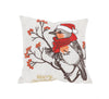 XD19801-Merry Christmas Bird Crewel Embroidered Pillow 14 by 14-Inch